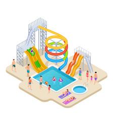 water park isometric aquapark kids slide vector image