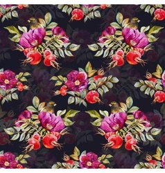 Watercolor dogrose pattern vector image