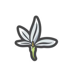 White flower simple icon cartoon vector