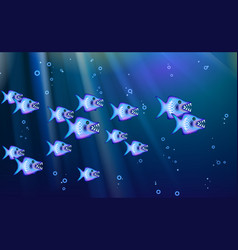 wild predators blue background flock of small vector image