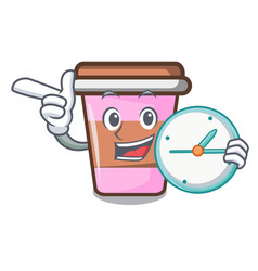 With clock coffee cup character cartoon vector