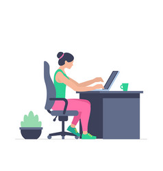 woman is working at his laptop vector image