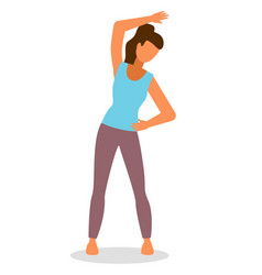 Young caucasian white woman doing stretching warm vector