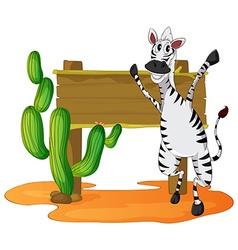 Zebra and wooden sign in desert field vector