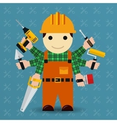 Builder with many arms vector image vector image