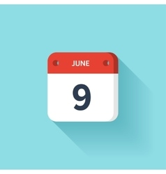 June 9 Isometric Calendar Icon With Shadow vector image vector image