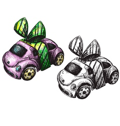 Sketch of a toy car vector