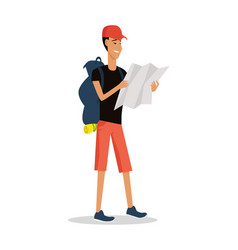 smiling young man in shorts with backpack and map vector image