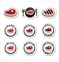 Steak - medium rare well done grilled icons set vector image vector image