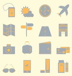 Travel color icons set on light background vector image