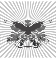 background pattern and an eagle with guns vector image vector image
