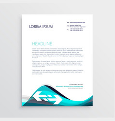 elegant blue and gray waves letterhead design vector image vector image