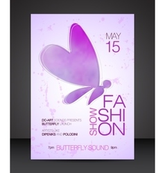 Fashion show flyer with purple butterfly vector image vector image