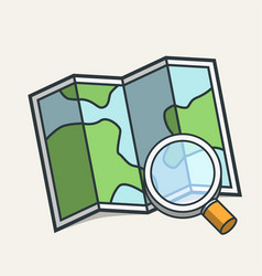 magnifying glass on map icon travel concept vector image vector image