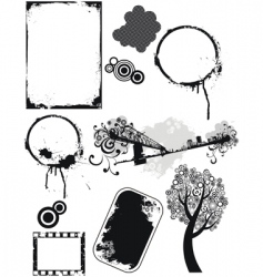 set of grunge elements vector image vector image