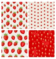 Set seamless strawberry texture berry pattern vector image vector image