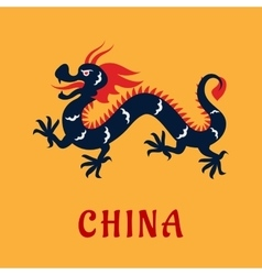 Traditional chinese dragon in flat style vector