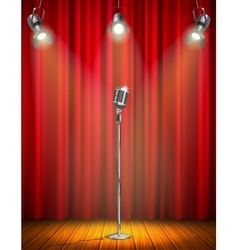 Vintage Microphone On Illuminated Stage vector image