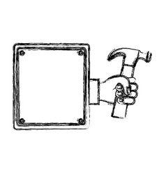 blurred silhouette plaque with hand holding hammer vector image