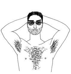 hairy man vector image vector image