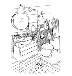 hand drawn modern bathroom interior design vector image