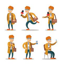 journalist cartoon character set vector image