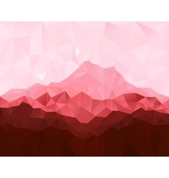 Low poly geometrical background with red mountains vector image