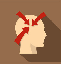 Profile of the head with red arrows inside icon vector