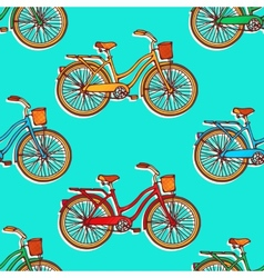 Seamless pattern with colorful hand drawn vintage vector image