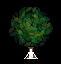 Silhouette of a meditating person or a person perf vector image