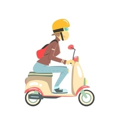 Women Riding Pink Girly Scooter vector image vector image