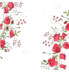 Backdrop with roses and herbs White and pink vector image
