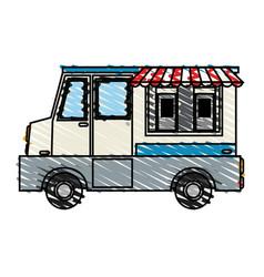 Color crayon stripe cartoon food mobile truck vector