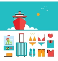 Cruise liner boat background and Summer vacation vector image vector image