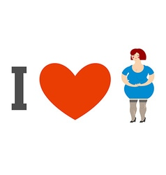 I love women Heart and fat lady Logo for ladies vector image vector image