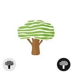Oak tree logo elegant smooth stripes style vector image vector image