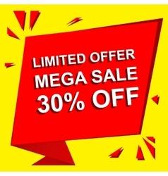 Sale poster with limited offer mega sale 30 vector