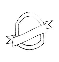 shield with ribbon emblem sketch vector image