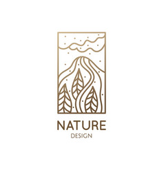 abstract nature logo mountain landscape icon vector image