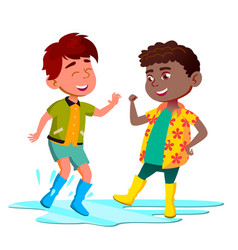 African and asian kids in boots jump in puddle vector
