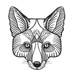 Animal fox head print for adult anti stress vector