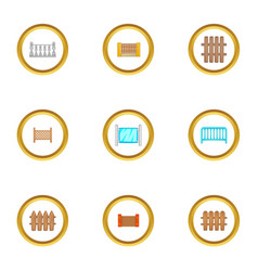 architecture fence icons set cartoon style vector image