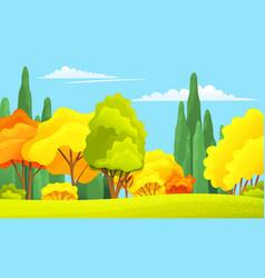 Autumn forest beautiful landscape with orange vector