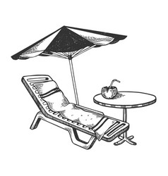Beach objects engraving vector