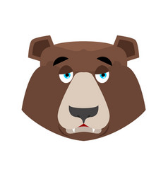 Bear sad emoji grizzly melancholy emotion face vector