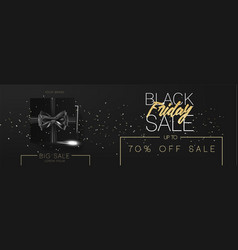 Black friday sale cardboard box tied with a black vector