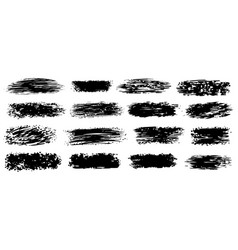 black ink brush stroke collection on white vector image
