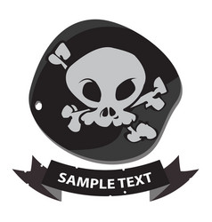 black label pirate symbol with ribbon banner vector image