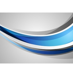 Blue and grey corporate waves background vector