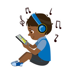Boy reading text from tablet and listening to vector